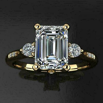 2.50 Ct Emerald Cut VVS1 Diamond Solitaire Engagement Ring 14K Yellow Gold Over