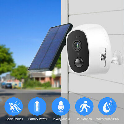 Outdoor Home Security Camera Wireless WIFI IP 1080P 2MP HD External Solar Panel