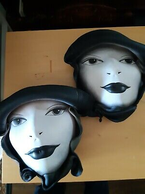 2 Female Leather Faces Hand Crafted & Painted