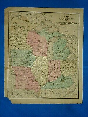 Vintage 1869 MAP ~ WISCONSIN - NORTH CENTRAL UNITED STATES ~ Antique Original