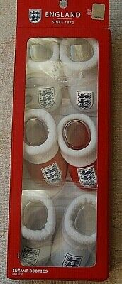 3 X Official England Infant Booties   One Size Bnib 2 X White 1 X Red