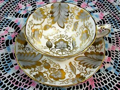 Grosvenor Inverness Tea Cup And Saucer Hp Gray & Gold Gilt Designs