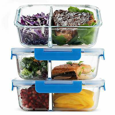 Glass Meal Prep Containers 2-Compartment -3-Pack 32 Oz. Food