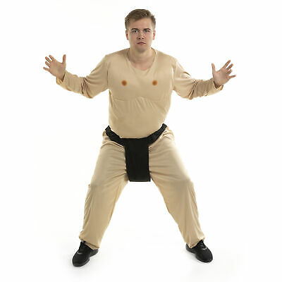 Mens Adult Hoopster Sumo Wrestler Japanese Fighter Funny Halloween Costume L NEW
