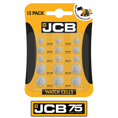 15x JCB LR41 Watch Battery AG1 364 AG3 392  AG4 377 G12 LR43 G13 LR44