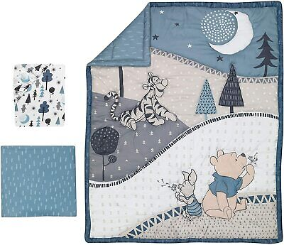 Lambs & Ivy Forever Pooh 3 Piece Baby Cot Bedding Set Blue Quilt Sheet Valance
