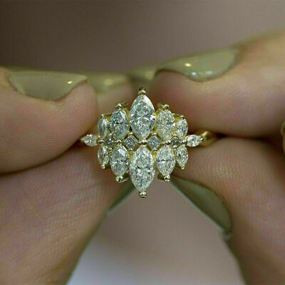 14k Yellow Gold Over 2.50Ct Marquise Diamond Cluster Engagement Wedding Ring