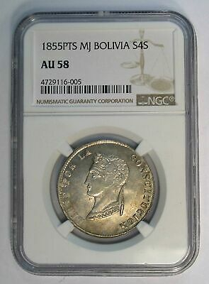 1855 PTS MJ Bolivia NGC AU58 4 Soles KM-123.2 silver coin