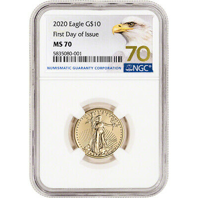 2020 American Gold Eagle 1/4 oz $10 - NGC MS70 First Day of Issue Grade 70