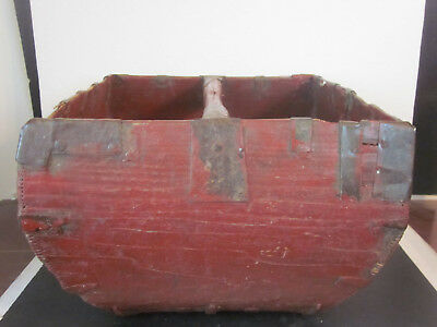 Vtg Antique Hand Made Asian Chinese Japanese Rice Grain Gathering Bucket Basket