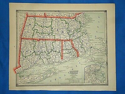 Vintage 1884 MAP ~ MASSACHUSETTS CONNECTICUT RHODE ISLAND Old Antique Original