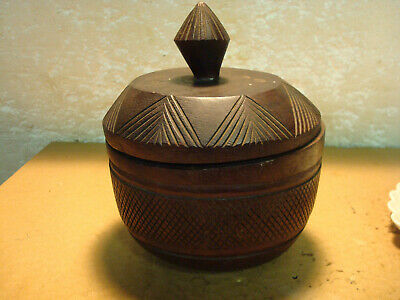 Vintage Wood  Bowl with Lid - Hand Carved