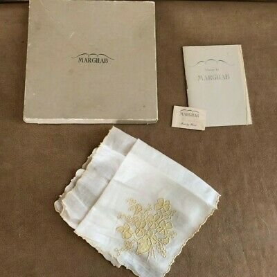 Antique Marghab Yellow Violets Hanky tags Madeira Embroidery Handkerchief box