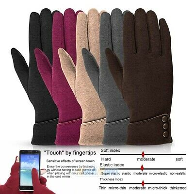 Winter Warm Thick Soft Cashmere Touch Screen Fleece Full Finger Gloves Womens