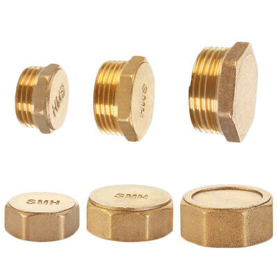 """Brass 1/2"""" 3/4"""" Male/Female Blanking Cap Stop End Lock, Water Gas Pipe Parts"""