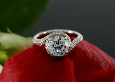 2Ct Round Cut Diamond Bypass Promise Engagement Wedding Ring 14K White Gold Over