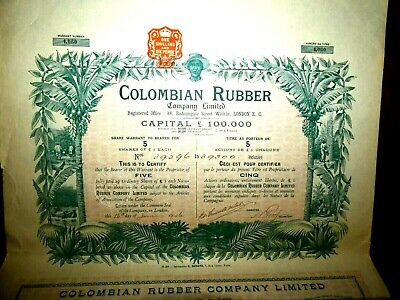 Colombian Rubber Share certificate 1906  Colombia  VG+