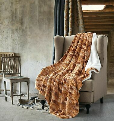 Over Sized Blanket Autumn Forest Warm Sherpa Backed Faux Fur Thick Soft Throw