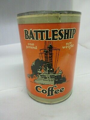 Vintage Battleship Rare Coffee Tin   Advertising Collectible Paper Lable  81-R