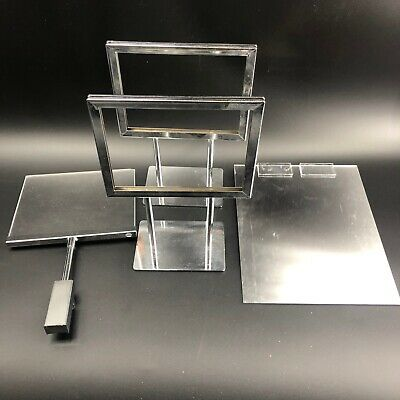 4 pc Lot Chrome Sign Holder Counter Sale Advertisement Retail Display Set