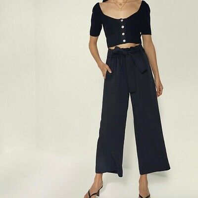 NWT Aritzia Wilfred paperbag wide leg crop pant Size 8