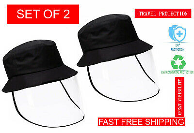 SET OF 2 Safety Face Shield Hat Visor Mask Full Face Shield Protective Cap