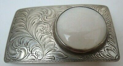 Vintage Hand Made Sterling Silver Western Belt Buckle with Opal Stone 55.5 grams