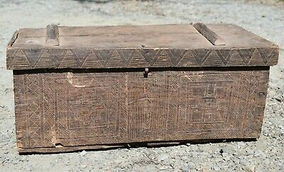 Rare Antique African Kuba Hand Carved Wood Dowry Box Small Chest Congo, Africa