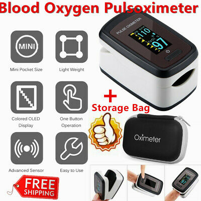 OLED Multifunction Fingertip Oximeter Monitor Blood Oxygen Pulsoximeter + bag YY