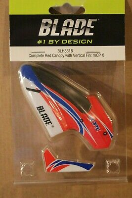 BLADE mCPX mCP2 Complete Red Canopy /& Vertical Fin BLH3518