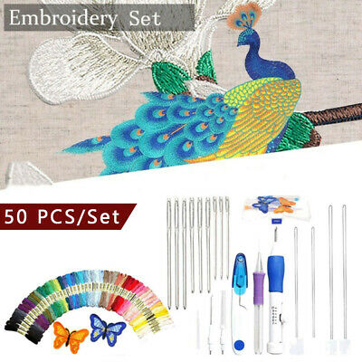 DIY Embroidery Pen Knitting Sewing Handwork Tool Punch Needle & Threads Colorful