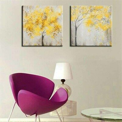 2Pcs Yellow Flowers Blossom Tree Canvas Wall Art Picture Printing Set Frameless,