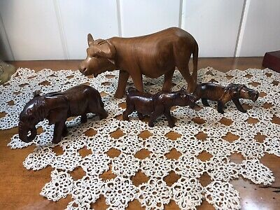 NEW Hand Carved Wooden Safari Animals Elephant Buffalo Lion Tiger