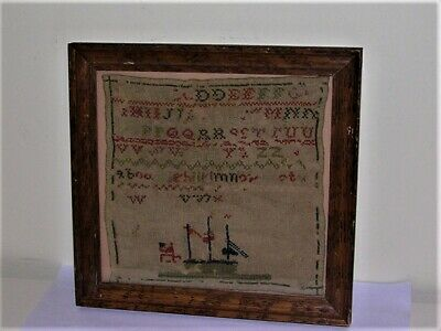 19th Century Needlework Sampler ABC's Boat With American Flag Unfinished