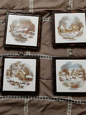 Vintage Currier & Ives Tile set of 4. Very nice wood,wall decorative