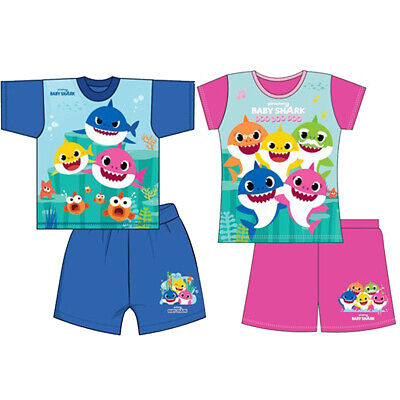Kids Baby Shark Boys Girls Pyjamas Toddler Shorts Pyjama Short PJ Set 18M-5Y