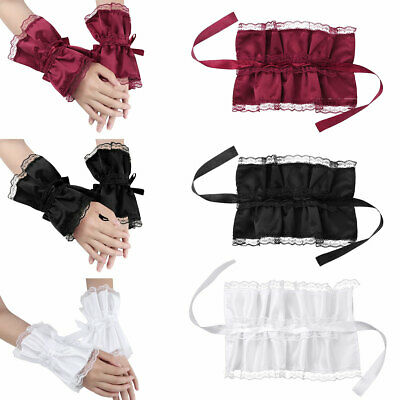 2X Women Handmade Adjustable Ruffled Satin Lace Bracelet False Sleeve Wrist Cuff