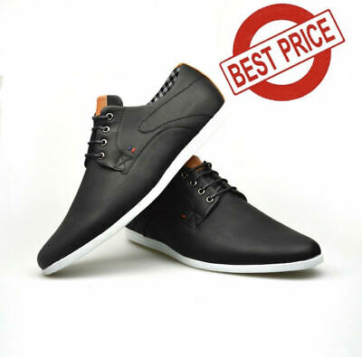 Mens Smart Formal Casual Black Faux Leather Lace Up Shoes