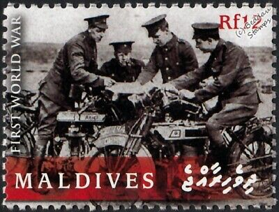 WWI British Army Scouts on Ariel Motorcycles / Motorbikes Stamp (2008 Maldives)