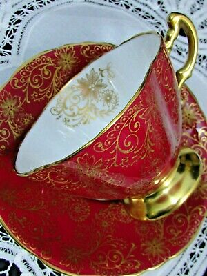 Hammersley Rich Red & Intricate Gold Gilt Floral Tea Cup And Saucer