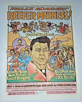 Rally Against Reefer Madness 1985 Yippee movement vintage poster; Reagan era