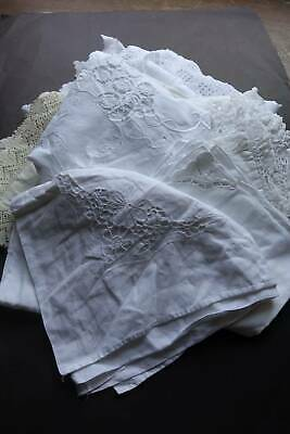 Bundle 10 items of vintage white linen with lace and/or whitework embroidery