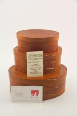 Complete Set 3 Orleans Carpenters Oval Shaker Boxes Swallowtail Joint MFA Boston
