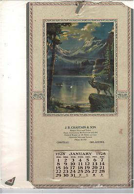 Vintage Old 1928 J.b Chastain & Son Choteau Oklahoma Advertising Calendar Ms1643