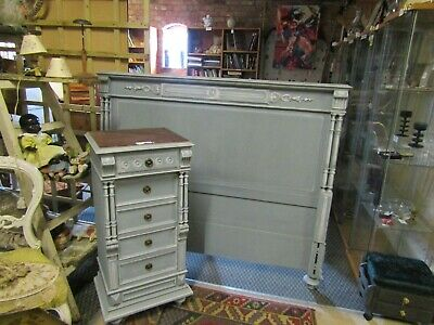 Painted Antique French Double Bed Headboard & Wellington Style Bedside Table