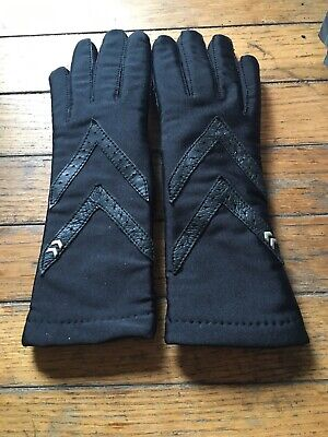 VINTAGE! ISOTONER ARIS Womens Black Sz M Lycra Spandex Driving Gloves Thinsulate