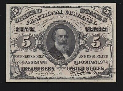 US 5c Fractional Currency Note 3rd Issue Red Back FR 1236 Ch CU