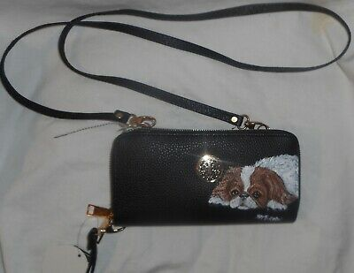 Japanese Chin Dog Hand Painted Cross Body Bag Wristlet Wallet Purse for Women