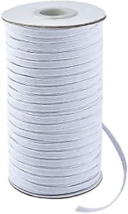 """Flat Elastic Band, 1/4"""" (6mm) width White DIY for face mask SHIPS from US"""