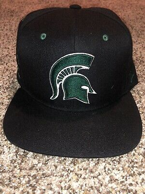 New Unisex Michigan State Spartans Snapback Black Hat Adjustable Embroidered